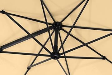 Schneider Premium Sonnenschirm Ampelschirm Rhodos Twist eco, Natur, ca. 270 x 270 cm, 8-teilig, quadratisch - 8