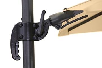 Schneider Premium Sonnenschirm Ampelschirm Rhodos Twist eco, Natur, ca. 270 x 270 cm, 8-teilig, quadratisch - 9