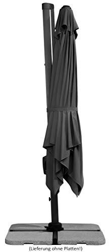 Schneider Sonnenschirm Rhodos Twist, anthrazit, ca. 300 x 300 cm, 8-teilig, quadratisch - 9