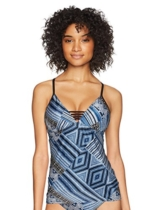 Seafolly Women's Tankini Top Swimsuit with Strappy Front Detail, Desert Tribe Bluestone, 4 US - 1