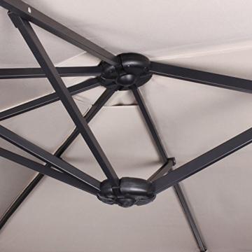 Sekey 270 X 460 cm Aluminium Doppelsonnenschirm Marktschirm Gartenschirm Terrassenschirm Sonnenschutz UV50+ (Taupe) - 4