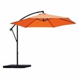Sekey Ampelschirm 300 cm Sonnenschirm Gartenschirm Kurbelschirm mit Kurbelvorrichtung Sonnenschutz UV50+ (Orange) - 1