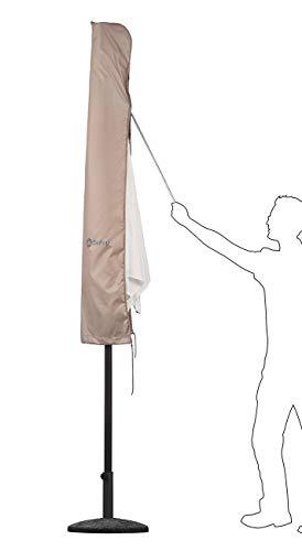 Sekey® Schutzhülle für Ø 300 cm Sonnenschirm, Abdeckhauben für Sonnenschirm,100% Polyester, Taupe - 4