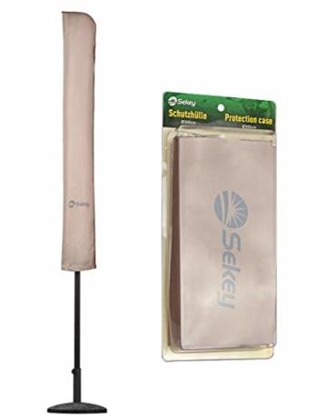 Sekey® Schutzhülle für Ø 300 cm Sonnenschirm, Abdeckhauben für Sonnenschirm,100% Polyester, Taupe - 1