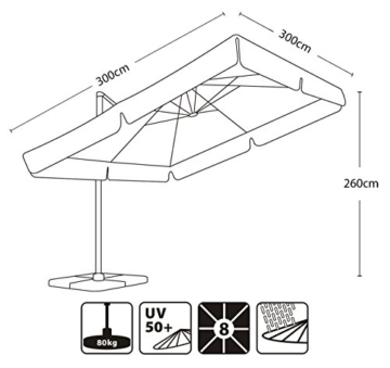 Sekey® Sonnenschirm 300 x 300 cm Aluminium-Sonnenschirm Marktschirm Gartenschirm Terrassenschirm Ampelschirm Kurbelschirm Terracotta Quadratisch Sonnenschutz UV50+ 23kg - 2