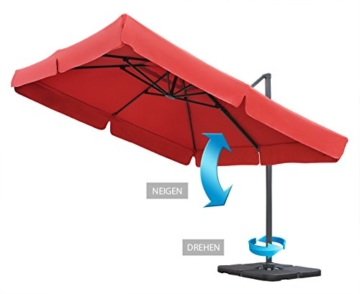 Sekey® Sonnenschirm 300 x 300 cm Aluminium-Sonnenschirm Marktschirm Gartenschirm Terrassenschirm Ampelschirm Kurbelschirm Terracotta Quadratisch Sonnenschutz UV50+ 23kg - 4