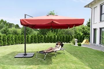 Sekey® Sonnenschirm 300 x 300 cm Aluminium-Sonnenschirm Marktschirm Gartenschirm Terrassenschirm Ampelschirm Kurbelschirm Terracotta Quadratisch Sonnenschutz UV50+ 23kg - 5