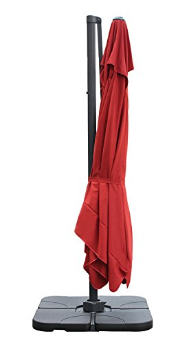 Sekey® Sonnenschirm 300 x 300 cm Aluminium-Sonnenschirm Marktschirm Gartenschirm Terrassenschirm Ampelschirm Kurbelschirm Terracotta Quadratisch Sonnenschutz UV50+ 23kg - 7