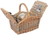 Selltex Picknickkorb für 4 Personen Weidenkorb inkl. praktischem Inhalt Messer Porzellan Teller Gläser Weide Korb - 1