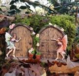 Set of 2 Sparkle Fairy Door Garden Home Ornament - 1