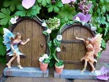 Set of 2 Sparkle Fairy Door Garden Home Ornament - 6