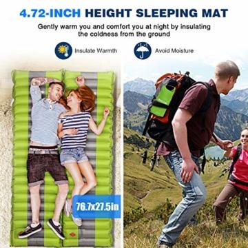 SGODDE Isomatte Camping Selbstaufblasbare,Handpresse Aufblasbare,leichte Rucksackmatte für Wanderungen zum Wandern auf Reisen,langlebige wasserdichte Luftmatratze kompakte Wandermatte (Grün) - 2