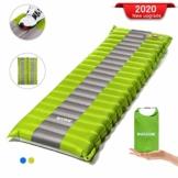 SGODDE Isomatte Camping Selbstaufblasbare,Handpresse Aufblasbare,leichte Rucksackmatte für Wanderungen zum Wandern auf Reisen,langlebige wasserdichte Luftmatratze kompakte Wandermatte (Grün) - 1