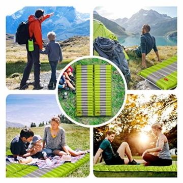 SGODDE Isomatte Camping Selbstaufblasbare,Handpresse Aufblasbare,leichte Rucksackmatte für Wanderungen zum Wandern auf Reisen,langlebige wasserdichte Luftmatratze kompakte Wandermatte (Grün) - 3