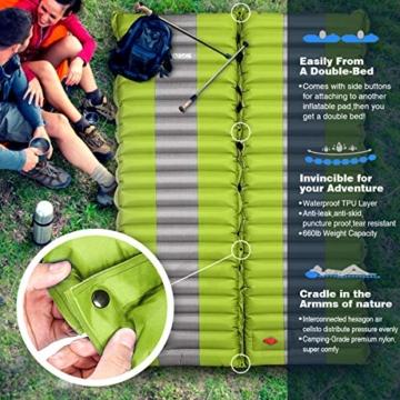 SGODDE Isomatte Camping Selbstaufblasbare,Handpresse Aufblasbare,leichte Rucksackmatte für Wanderungen zum Wandern auf Reisen,langlebige wasserdichte Luftmatratze kompakte Wandermatte (Grün) - 5