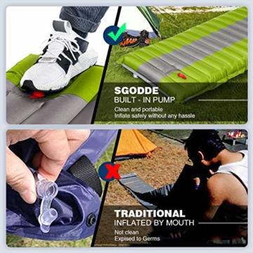 SGODDE Isomatte Camping Selbstaufblasbare,Handpresse Aufblasbare,leichte Rucksackmatte für Wanderungen zum Wandern auf Reisen,langlebige wasserdichte Luftmatratze kompakte Wandermatte (Grün) - 6