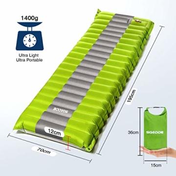 SGODDE Isomatte Camping Selbstaufblasbare,Handpresse Aufblasbare,leichte Rucksackmatte für Wanderungen zum Wandern auf Reisen,langlebige wasserdichte Luftmatratze kompakte Wandermatte (Grün) - 7