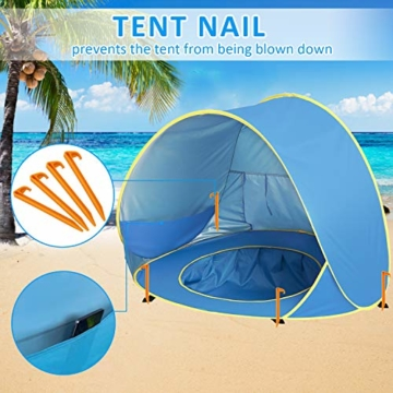 Shayson Strandmuschel,Automatisches Strandzelt mit UV-Schutz 50+,Pop up Outdoor Tragbar Wurfzelt für Kinder am Strand - 2