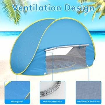 Shayson Strandmuschel,Automatisches Strandzelt mit UV-Schutz 50+,Pop up Outdoor Tragbar Wurfzelt für Kinder am Strand - 4