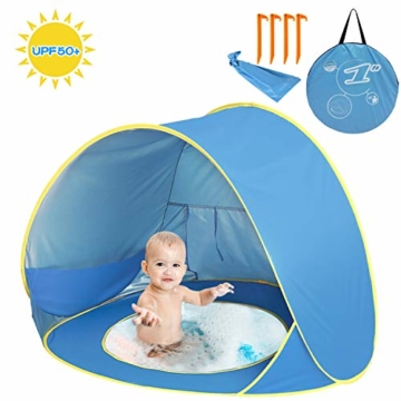 Shayson Strandmuschel,Automatisches Strandzelt mit UV-Schutz 50+,Pop up Outdoor Tragbar Wurfzelt für Kinder am Strand - 1