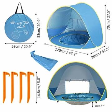Shayson Strandmuschel,Automatisches Strandzelt mit UV-Schutz 50+,Pop up Outdoor Tragbar Wurfzelt für Kinder am Strand - 5