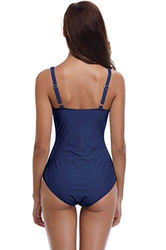 SHEKINI Damen Einteilige Blumen Einfarbig Badeanzug Monokini Verstellbarer Oder Nicht Verstellbarer Schultergurt Badeanzüge Falten Bademode Schwimmanzug, A-dunkelblau, L - 5