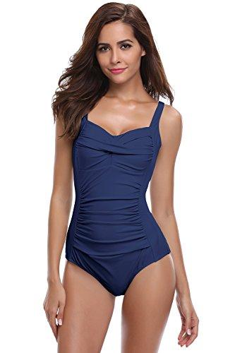 SHEKINI Damen Einteilige Blumen Einfarbig Badeanzug Monokini Verstellbarer Oder Nicht Verstellbarer Schultergurt Badeanzüge Falten Bademode Schwimmanzug, A-dunkelblau, L - 1