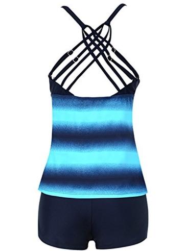 Sixyotie Damen Mehrfarbig Tankini mit Oberteile und Badeshorts Badeanzug Beachwear Zweiteiler Bademode mit Bügeln UV Schutz (Blau, EU 40 (XL)) - 2