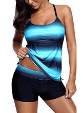 Sixyotie Damen Mehrfarbig Tankini mit Oberteile und Badeshorts Badeanzug Beachwear Zweiteiler Bademode mit Bügeln UV Schutz (Blau, EU 40 (XL)) - 1