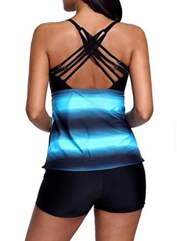 Sixyotie Damen Mehrfarbig Tankini mit Oberteile und Badeshorts Badeanzug Beachwear Zweiteiler Bademode mit Bügeln UV Schutz (Blau, EU 40 (XL)) - 4