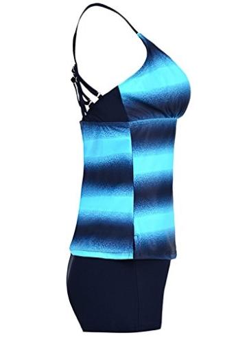 Sixyotie Damen Mehrfarbig Tankini mit Oberteile und Badeshorts Badeanzug Beachwear Zweiteiler Bademode mit Bügeln UV Schutz (Blau, EU 40 (XL)) - 5