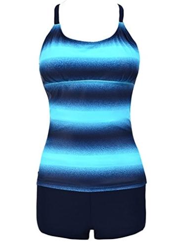 Sixyotie Damen Mehrfarbig Tankini mit Oberteile und Badeshorts Badeanzug Beachwear Zweiteiler Bademode mit Bügeln UV Schutz (Blau, EU 40 (XL)) - 6