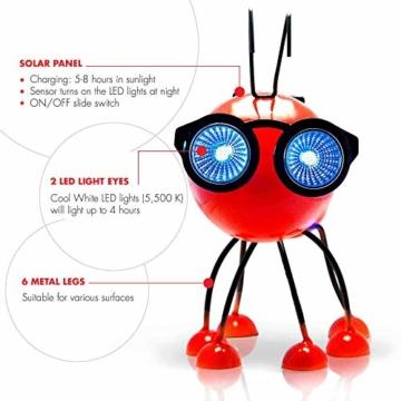 Smarty Gadgets Gartendeko Rote Ameise mit Solar LED Leuchten, Garten Geschenk, Tier Gartenfigur für draußen Hof und Balkon Dekoration, 28x25x14 cm - 2