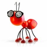 Smarty Gadgets Gartendeko Rote Ameise mit Solar LED Leuchten, Garten Geschenk, Tier Gartenfigur für draußen Hof und Balkon Dekoration, 28x25x14 cm - 1