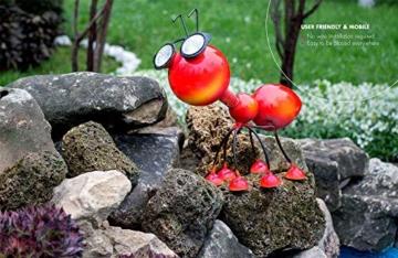 Smarty Gadgets Gartendeko Rote Ameise mit Solar LED Leuchten, Garten Geschenk, Tier Gartenfigur für draußen Hof und Balkon Dekoration, 28x25x14 cm - 4