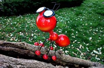 Smarty Gadgets Gartendeko Rote Ameise mit Solar LED Leuchten, Garten Geschenk, Tier Gartenfigur für draußen Hof und Balkon Dekoration, 28x25x14 cm - 5