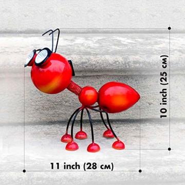 Smarty Gadgets Gartendeko Rote Ameise mit Solar LED Leuchten, Garten Geschenk, Tier Gartenfigur für draußen Hof und Balkon Dekoration, 28x25x14 cm - 7