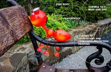 Smarty Gadgets Gartendeko Rote Ameise mit Solar LED Leuchten, Garten Geschenk, Tier Gartenfigur für draußen Hof und Balkon Dekoration, 28x25x14 cm - 8