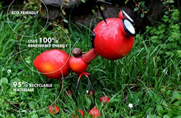 Smarty Gadgets Gartendeko Rote Ameise mit Solar LED Leuchten, Garten Geschenk, Tier Gartenfigur für draußen Hof und Balkon Dekoration, 28x25x14 cm - 9