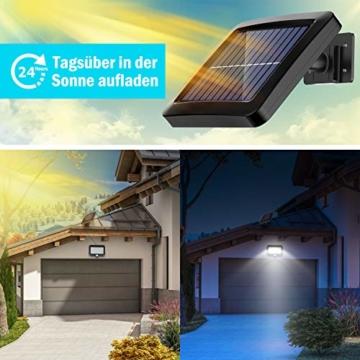 Solarlampen für Außen, MPJ 56 LED Solarleuchte Aussen mit Bewegungsmelder, IP65 Wasserdichte, 120°Beleuchtungswinkel, Solar Wandleuchte für Garten mit 16.5ft Kabel - 2