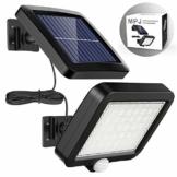 Solarlampen für Außen, MPJ 56 LED Solarleuchte Aussen mit Bewegungsmelder, IP65 Wasserdichte, 120°Beleuchtungswinkel, Solar Wandleuchte für Garten mit 16.5ft Kabel - 1