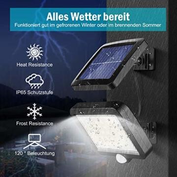 Solarlampen für Außen, MPJ 56 LED Solarleuchte Aussen mit Bewegungsmelder, IP65 Wasserdichte, 120°Beleuchtungswinkel, Solar Wandleuchte für Garten mit 16.5ft Kabel - 3