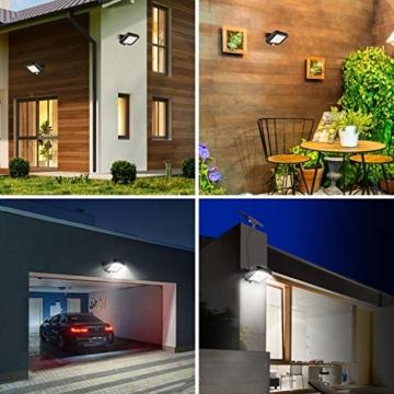 Solarlampen für Außen, MPJ 56 LED Solarleuchte Aussen mit Bewegungsmelder, IP65 Wasserdichte, 120°Beleuchtungswinkel, Solar Wandleuchte für Garten mit 16.5ft Kabel - 4