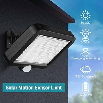 Solarlampen für Außen, MPJ 56 LED Solarleuchte Aussen mit Bewegungsmelder, IP65 Wasserdichte, 120°Beleuchtungswinkel, Solar Wandleuchte für Garten mit 16.5ft Kabel - 6