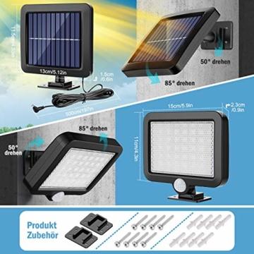 Solarlampen für Außen, MPJ 56 LED Solarleuchte Aussen mit Bewegungsmelder, IP65 Wasserdichte, 120°Beleuchtungswinkel, Solar Wandleuchte für Garten mit 16.5ft Kabel - 7