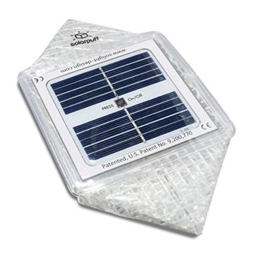 Solight Design Solarlampe - Faltbare Solarleuchte Solar Puff warm weiß LED - in robuster Würfel Form mit Griff inkl. Klettverschluss für Heim, Garten, Camping oder Outdoor - 2