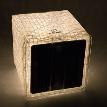 Solight Design Solarlampe - Faltbare Solarleuchte Solar Puff warm weiß LED - in robuster Würfel Form mit Griff inkl. Klettverschluss für Heim, Garten, Camping oder Outdoor - 4
