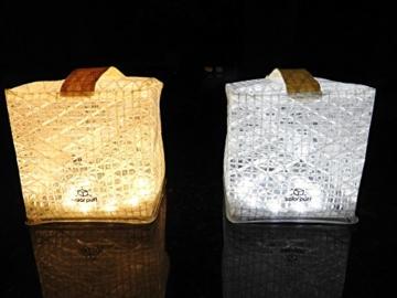 Solight Design Solarlampe - Faltbare Solarleuchte Solar Puff warm weiß LED - in robuster Würfel Form mit Griff inkl. Klettverschluss für Heim, Garten, Camping oder Outdoor - 5