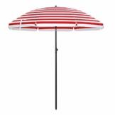 SONGMICS Sonnenschirm, Ø 180 cm, Sonnenschutz, achteckiger Strandschirm aus Polyester, Schirmrippen aus Glasfaser, knickbar, mit Tragetasche, Garten, Balkon, Schwimmbad, rot-weiß gestreift GPU65RW - 1