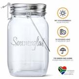 SONNENGLAS Classic 1000ml | Original Solarlampe/Solar-Laterne im Einmachglas aus Südafrika (inkl. USB) | warmweiß | Fair Trade | Bekannt aus Pro7 Galileo - 1